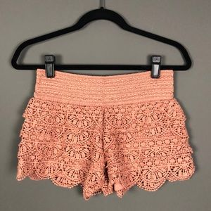 Rewind l Festival Dusty Rose Crochet Shorts